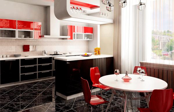 красные стулья мебель кухня