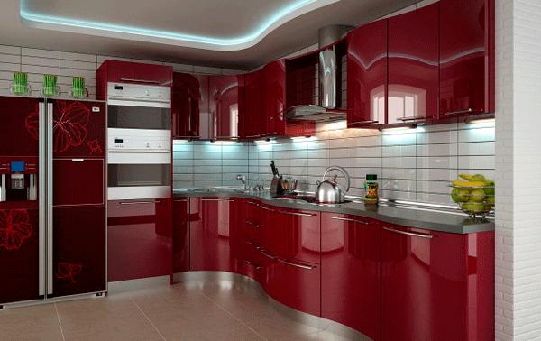 бардовая кухня современный дизайн