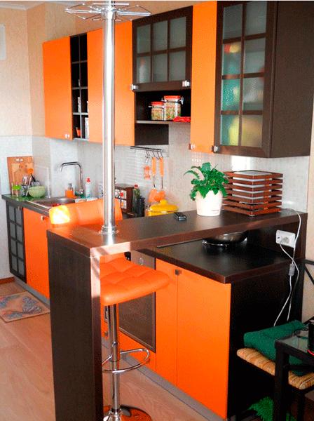 современная оранжевая кухня на заказ