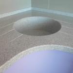 мраморная угловая мойка столешницы из акрилового камня на заказ